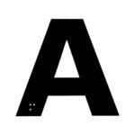Signalétique lettres et chiffres avec braille - Polychlorure de vinyle - PVC, Noir. Blanc, 100 mm, 50 mm, 1pcs