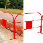 Barrière de chantier - Acier non trempé, Rouge/blanc (base), 1 m, 1.5 m, 1pcs